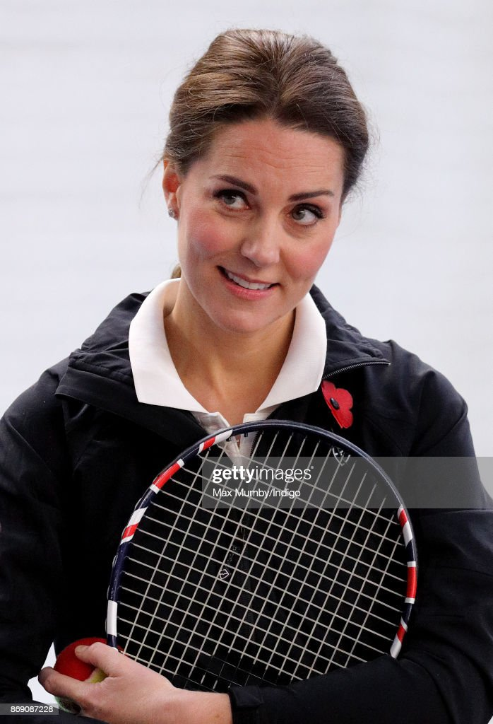 Catherine, Duchess of Cambridge plays tennis during a visit to the Lawn Tennis Association at the National Tennis Centre on October 31, 2017 in London, England. The Duchess of Cambridge became Patron of the LTA in December 2016.