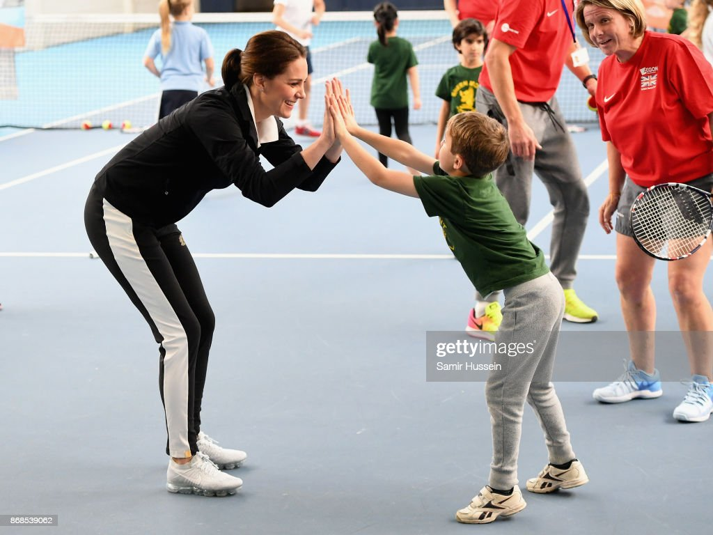 Catherine, Duchess of Cambridge plays tennis with children as she visits the Lawn Tennis Association at National Tennis Centre on October 31, 2017 in London, England. The Duchess of Cambridge became Patron of the LTA in December 2016.