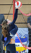 Catherine Duchess of Cambridge plays volleyball at a Sportaid Athlete Workshop at the Copper Box on October 18 2013 in London England