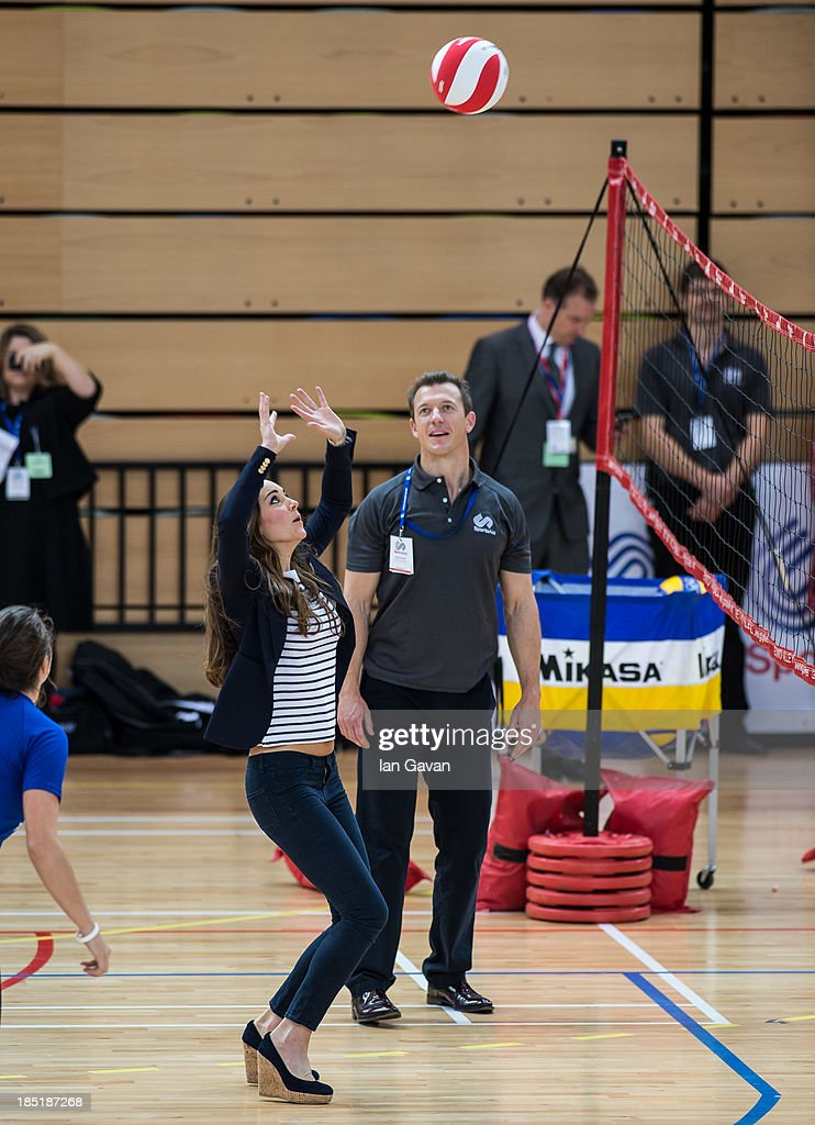 <a gi-track='captionPersonalityLinkClicked' href=/galleries/search?phrase=Catherine+-+Duchess+of+Cambridge&family=editorial&specificpeople=542588 ng-click='$event.stopPropagation()'>Catherine</a>, Duchess of Cambridge plays volleyball during her visit to a Sportaid Athlete Workshop at Queen Elizabeth Olympic Park on October 18, 2013 in London, England.
