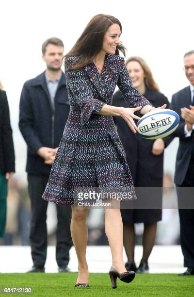 Catherine Duchess of Cambridge plays with a rugby at the Trocadero during an official twoday visit to Paris on March 18 2017 in Paris France