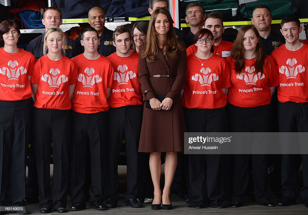 Catherine, Duchess of Cambridge poses for a photograph as she visits Humberside Fire and Rescue during an official visit to Grimsby on March 5, 2013 in Grimsby, England.