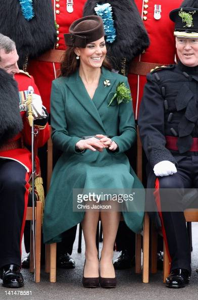 Catherine Duchess of Cambridge poses for an official photograph she visits Aldershot Barracks on St Patrick's Day on March 17 2012 in Aldershot...