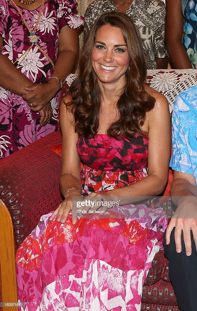 Catherine, Duchess of Cambridge poses in traditional Island clothing during a visit to the Governor General's House during their Diamond Jubilee tour of the Far East on September 16, 2012 in Honiara, Guadalcanal Island. Prince William, Duke of Cambridge and Catherine, Duchess of Cambridge are on a Diamond Jubilee tour representing the Queen, taking in Singapore, Malaysia, the Solomon Islands and Tuvalu.