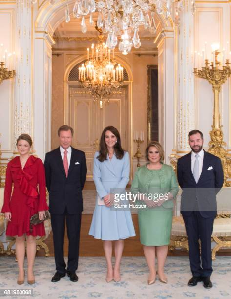 Catherine Duchess of Cambridge poses with Princess Stephanie of Luxembourg Henri Grand Duke of Luxembourg Maria Teresa Grand Duchess of Luxembourg...
