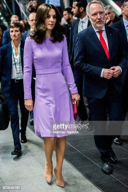 Catherine Duchess of Cambridge prepares to board a train for Hamburg at Berlin Hauptbahnhof main railway station on the third day of the royal visit...