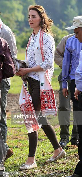 Catherine Duchess of Cambridge prepares to leave on a safari in Kaziranga National Park on day 4 of the royal visit to India and Bhutan on April 13...