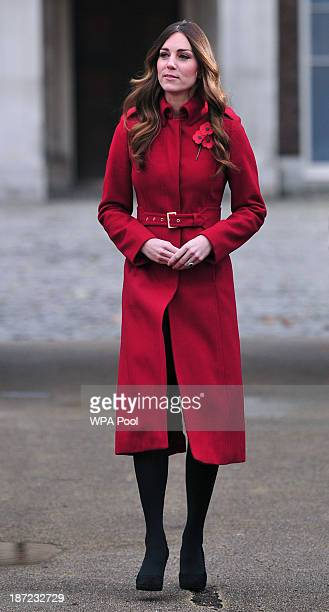Catherine Duchess of Cambridge prepares to meet staff and volunteers from The Royal British Legion's London Poppy Day Appeal at Kensington Palace on...