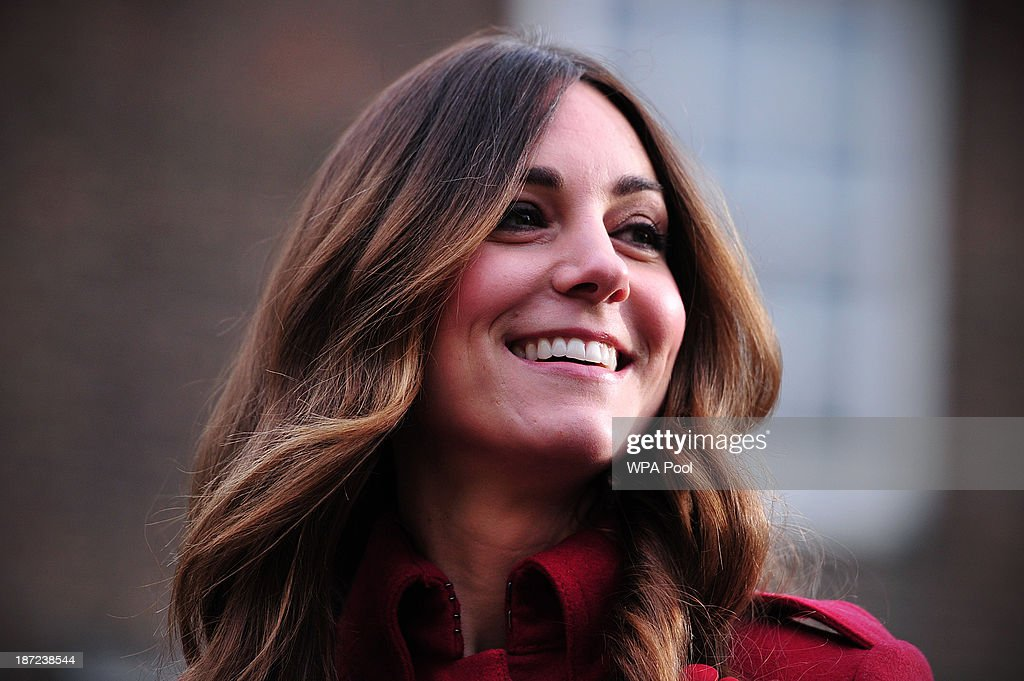Catherine, Duchess of Cambridge prepares to meet staff and volunteers from The Royal British Legion's London Poppy Day Appeal at Kensington Palace on November 07, 2013 in London, England.