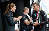 Catherine Duchess of Cambridge presents Dean Barker Skipper for SoftBank Team Japan with the award for 3rd place in the America's Cup World Series on...