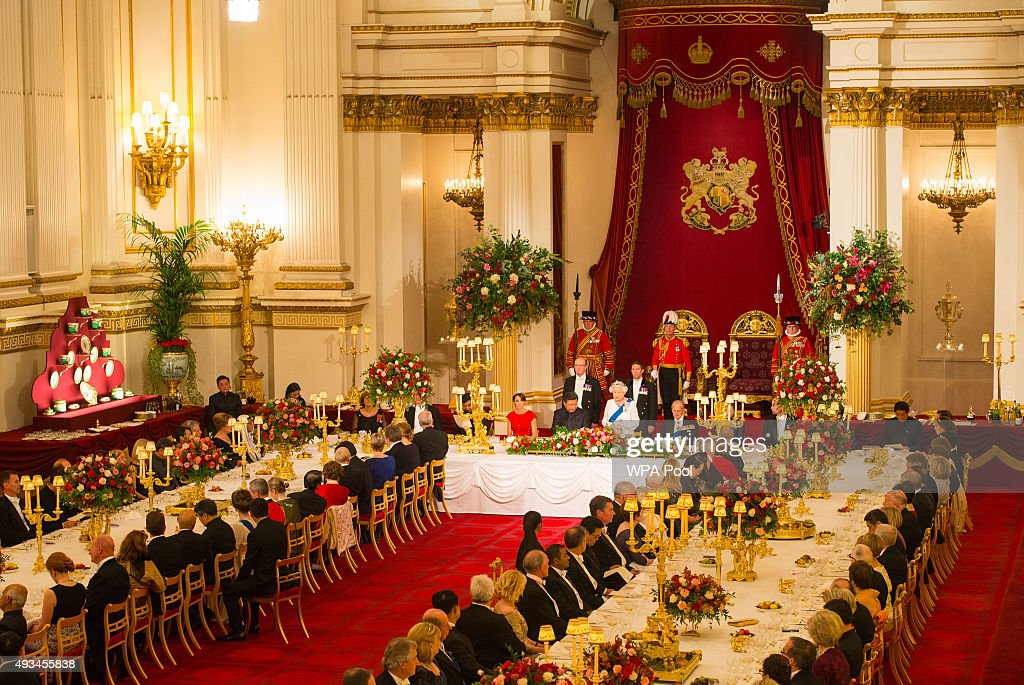 Catherine, Duchess of Cambridge, President of China Xi Jinping and Prince Philip, Duke of Edinburgh listen to Britain's Queen Elizabeth II speaks during a state banquet at Buckingham Palace on October 20, 2015 in London, England. The President of the People's Republic of China, Mr Xi Jinping and his wife, Madame Peng Liyuan, are paying a State Visit to the United Kingdom as guests of the Queen. They will stay at Buckingham Palace and undertake engagements in London and Manchester. The last state visit paid by a Chinese President to the UK was Hu Jintao in 2005.
