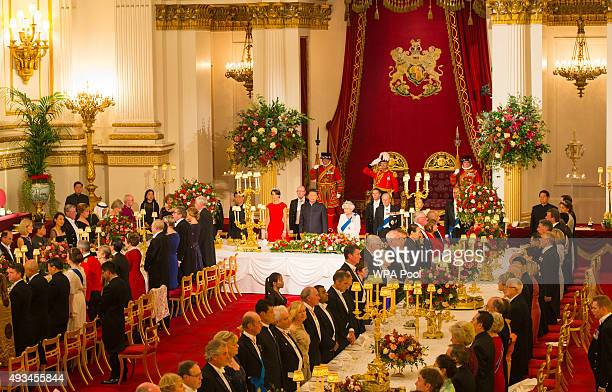 Catherine Duchess of Cambridge President of China Xi Jinping Britain's Queen Elizabeth II and Prince Philip Duke of Edinburgh attend a state banquet...