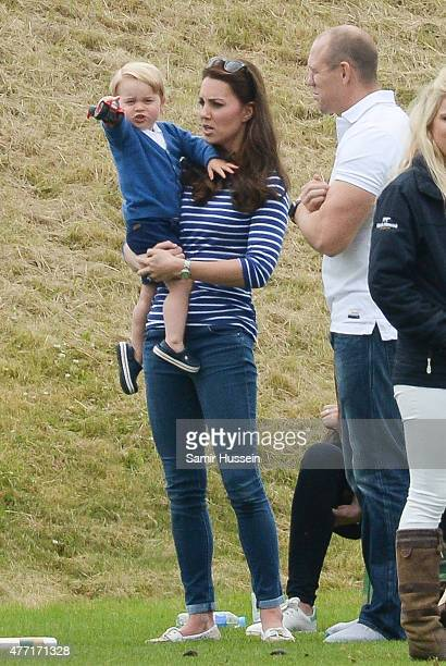 Catherine Duchess of Cambridge Prince George of Cambridge and Mike Tindall attend the Gigaset Charity Polo Match at Beaufort Polo Club on June 14...