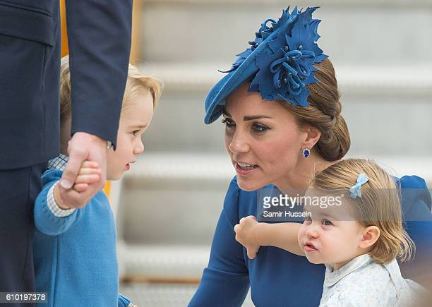 Catherine Duchess of Cambridge Prince George of Cambridge and Princess Charlotte of Cambridge arrive at Victoria airport for the start of of their...