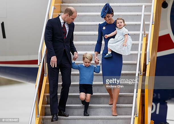 Catherine Duchess of Cambridge Prince George of Cambridge and Princess Charlotte of Cambridge arrive at 443 Maritime Helicopter Squadron near...
