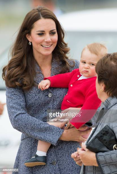 Catherine Duchess of Cambridge Prince George of Cambridge and Prince William Duke of Cambridge depart Australia from Defence Establishment Fairbairn...