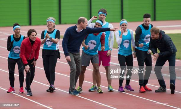 Catherine Duchess of Cambridge Prince Wiliam Duke of Cambridge and Prince Harry take part in a race during a training day for the Heads Together team...