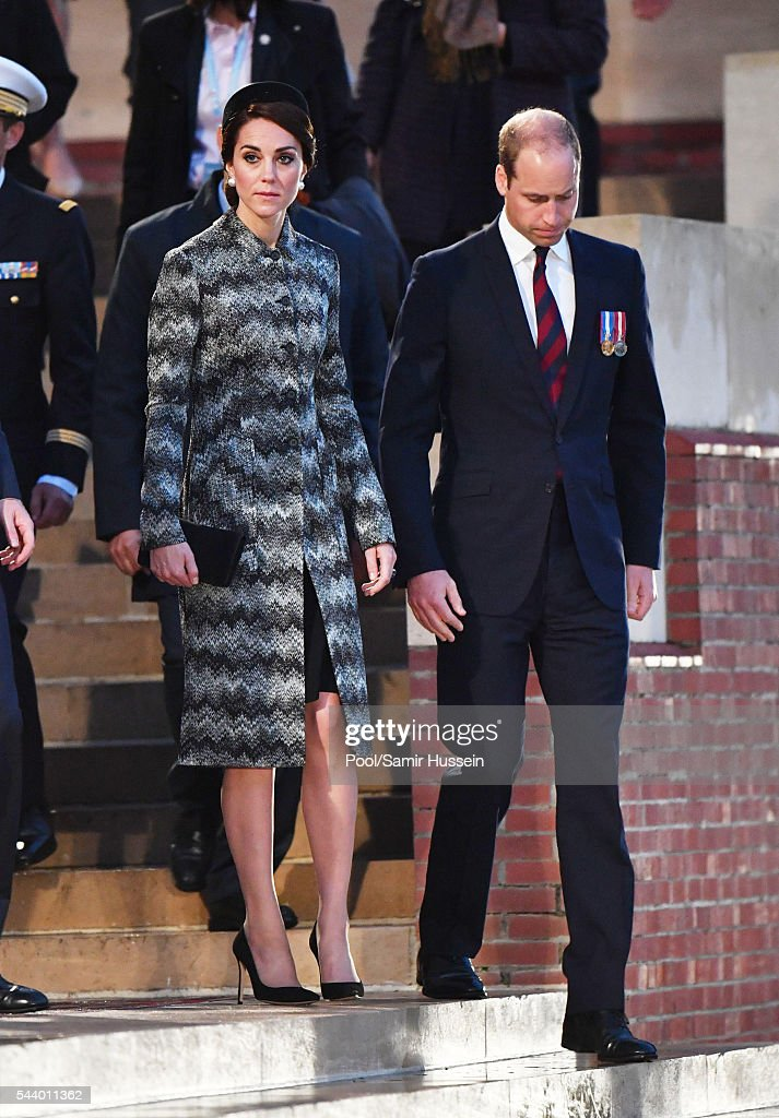 Catherine, Duchess of Cambridge, <a gi-track='captionPersonalityLinkClicked' href=/galleries/search?phrase=Prince+William&family=editorial&specificpeople=178205 ng-click='$event.stopPropagation()'>Prince William</a>, Duke of Cambridge attend a vigil to commemorate the 100th anniversary of the beginning of the Battle of the Somme at the Thiepval Memorial on June 30, 2016 in Thiepval, France. on June 30, 2016 in Thiepval, France.