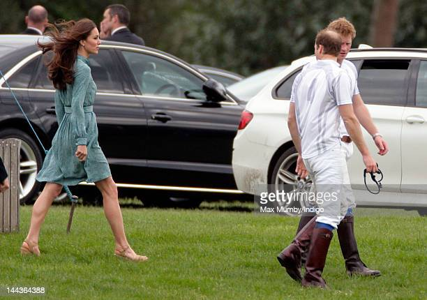 Catherine Duchess of Cambridge Prince William Duke of Cambridge and Prince Harry attend the Audi Polo Challenge charity polo match in which Prince...