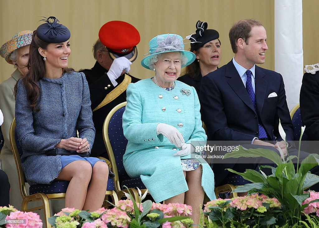 Catherine, Duchess of Cambridge, Prince William, Duke of Cambridge and Queen Elizabeth II smile as they visit Vernon Park during a Diamond Jubilee visit to Nottingham on June 13, 2012 in Nottingham, England.