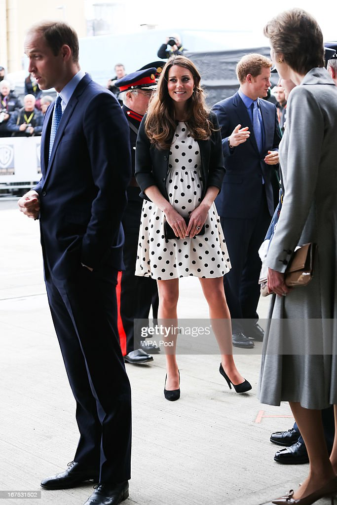 Catherine, Duchess of Cambridge, Prince William, Duke of Cambridge and Prince Harry arrive for the Inauguration Of Warner Bros. Studios Leavesden on April 26, 2013 in London, England.