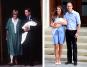 In this photo composite a comparison had been made between Prince Charles Prince of Wales Diana Princess of Wales with newborn son Prince William and...