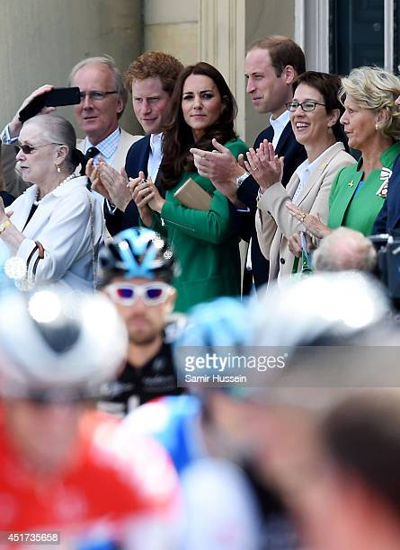 Catherine Duchess of Cambridge Prince William Duke of Cambridge and Prince Harry attend the official start of the Tour de France at Harewood House on...