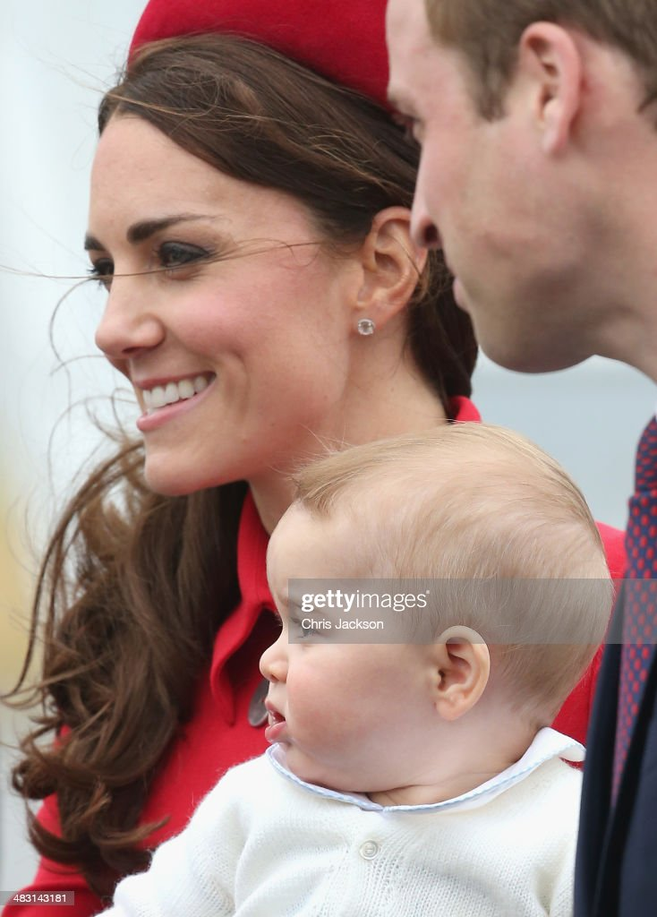 <a gi-track='captionPersonalityLinkClicked' href=/galleries/search?phrase=Catherine+-+Duchess+of+Cambridge&family=editorial&specificpeople=542588 ng-click='$event.stopPropagation()'>Catherine</a>, Duchess of Cambridge, <a gi-track='captionPersonalityLinkClicked' href=/galleries/search?phrase=Prince+William&family=editorial&specificpeople=178205 ng-click='$event.stopPropagation()'>Prince William</a>, Duke of Cambridge and <a gi-track='captionPersonalityLinkClicked' href=/galleries/search?phrase=Prince+George+of+Cambridge&family=editorial&specificpeople=11176510 ng-click='$event.stopPropagation()'>Prince George of Cambridge</a> arrive at Wellington Military Terminal on an RNZAF 757 from Sydney on April 7, 2014 in Wellington, New Zealand. The Royal Family have arrived in New Zealand for the first day of a Royal Tour to New Zealand and Australia. Over a period of three weeks the Royal trio will visit 12 Cities in New Zealand and Australia taking part in activities as wide ranging as a yacht race in Auckland Harbour, paying their respects to victims of the 2011 earthquake in Christchurch and visiting Ayres Rock in Australia.