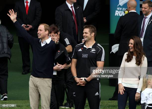 Catherine Duchess of Cambridge Prince William Duke of Cambridge and Richie McCaw watch a Rippa Rugby tornement at Forsyth Barr Stadium on April 13...