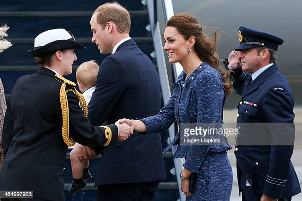Catherine Duchess of Cambridge Prince William Duke of Cambridge and Prince George of Cambridge are farewelled before boarding a Royal Australian Air...