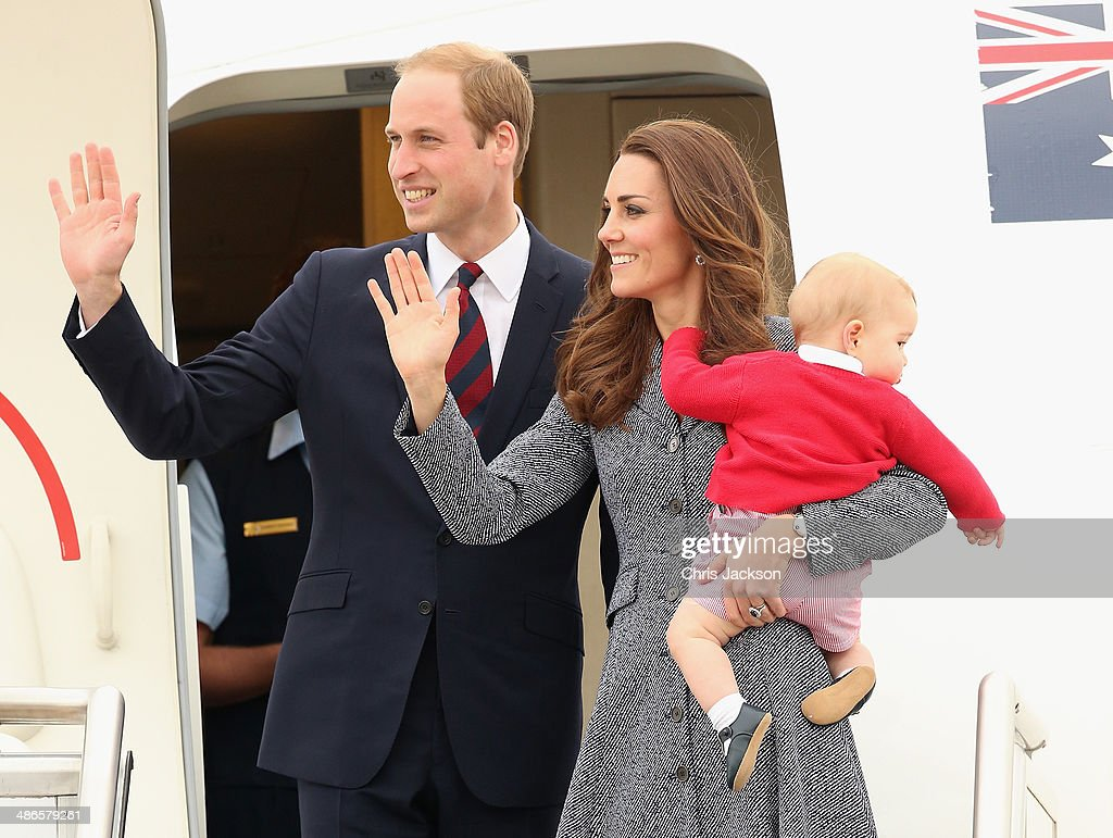 Catherine, Duchess of Cambridge, Prince William, Duke of Cambridge and Prince George of Cambridge leave Fairbairne Airbase as they head back to the UK after finishing their Royal Visit to Australia on April 25 2014 in Canberra, Australia. The Duke and Duchess of Cambridge are on a three-week tour of Australia and New Zealand, the first official trip overseas with their son, Prince George of Cambridge.