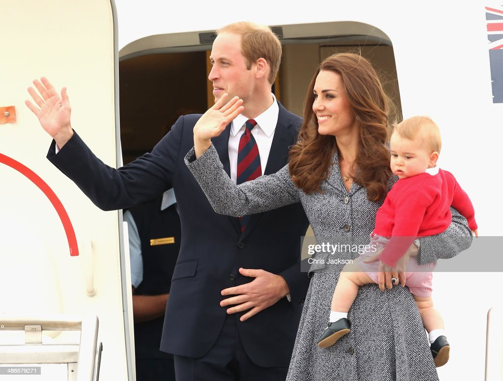 Catherine, Duchess of Cambridge, <a gi-track='captionPersonalityLinkClicked' href=/galleries/search?phrase=Prince+William&family=editorial&specificpeople=178205 ng-click='$event.stopPropagation()'>Prince William</a>, Duke of Cambridge and <a gi-track='captionPersonalityLinkClicked' href=/galleries/search?phrase=Prince+George+of+Cambridge&family=editorial&specificpeople=11176510 ng-click='$event.stopPropagation()'>Prince George of Cambridge</a> leave Fairbairne Airbase as they head back to the UK after finishing their Royal Visit to Australia on April 25 2014 in Canberra, Australia. The Duke and Duchess of Cambridge are on a three-week tour of Australia and New Zealand, the first official trip overseas with their son, <a gi-track='captionPersonalityLinkClicked' href=/galleries/search?phrase=Prince+George+of+Cambridge&family=editorial&specificpeople=11176510 ng-click='$event.stopPropagation()'>Prince George of Cambridge</a>.