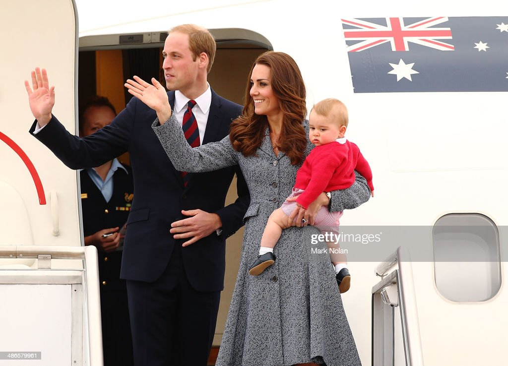 Catherine, Duchess of Cambridge, <a gi-track='captionPersonalityLinkClicked' href=/galleries/search?phrase=Prince+William&family=editorial&specificpeople=178205 ng-click='$event.stopPropagation()'>Prince William</a>, Duke of Cambridge and <a gi-track='captionPersonalityLinkClicked' href=/galleries/search?phrase=Prince+George+of+Cambridge&family=editorial&specificpeople=11176510 ng-click='$event.stopPropagation()'>Prince George of Cambridge</a> leave Fairbairne Airbase as they head back to the UK after finishing their Royal Visit to Australia on April 25, 2014 in Canberra, Australia. The Duke and Duchess of Cambridge are on a three-week tour of Australia and New Zealand, the first official trip overseas with their son, <a gi-track='captionPersonalityLinkClicked' href=/galleries/search?phrase=Prince+George+of+Cambridge&family=editorial&specificpeople=11176510 ng-click='$event.stopPropagation()'>Prince George of Cambridge</a>.