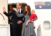 Catherine Duchess of Cambridge Prince William Duke of Cambridge and Prince George of Cambridge leave Fairbairne Airbase as they head back to the UK...