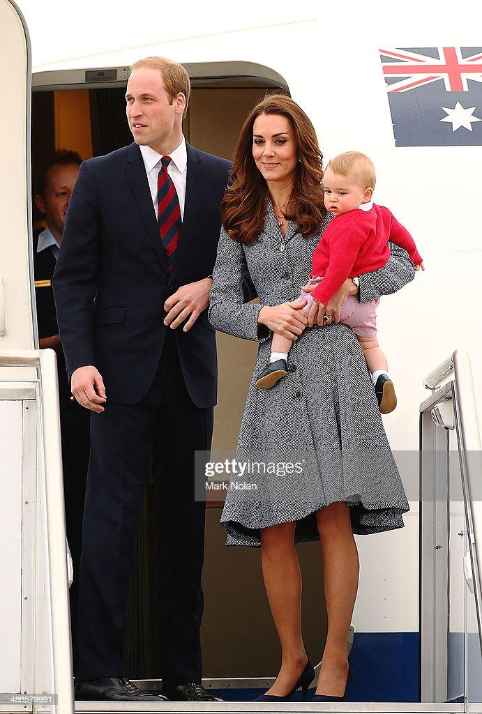Catherine, Duchess of Cambridge, Prince William, Duke of Cambridge and Prince George of Cambridge leave Fairbairne Airbase as they head back to the UK after finishing their Royal Visit to Australia on April 25, 2014 in Canberra, Australia. The Duke and Duchess of Cambridge are on a three-week tour of Australia and New Zealand, the first official trip overseas with their son, Prince George of Cambridge.