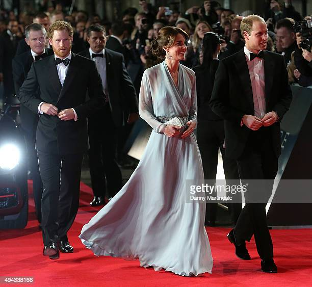 Catherine Duchess of Cambridge Prince William Duke of Cambridge and Prince Harry attend the Royal Film Performance of 'Spectre' at Royal Albert Hall...