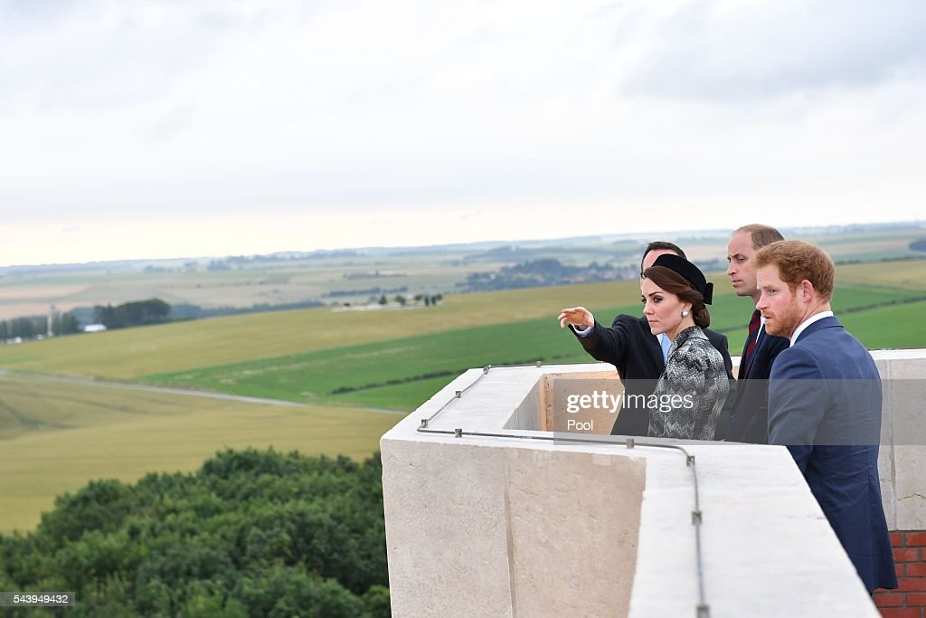 Catherine, Duchess of Cambridge, <a gi-track='captionPersonalityLinkClicked' href=/galleries/search?phrase=Prince+William&family=editorial&specificpeople=178205 ng-click='$event.stopPropagation()'>Prince William</a>, Duke of Cambridge and <a gi-track='captionPersonalityLinkClicked' href=/galleries/search?phrase=Prince+Harry&family=editorial&specificpeople=178173 ng-click='$event.stopPropagation()'>Prince Harry</a> attend the Somme Centenary commemorations at the Thiepval Memorial on June 30, 2016 in Albert, France.