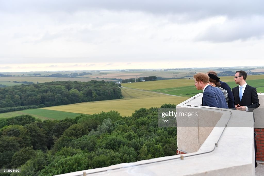 Catherine, Duchess of Cambridge, Prince William, Duke of Cambridge and Prince Harry attend the Somme Centenary commemorations at the Thiepval Memorial on June 30, 2016 in Albert, France.
