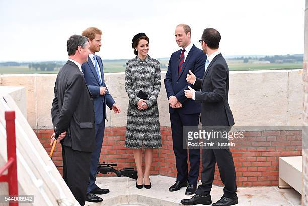 Catherine Duchess of Cambridge Prince William Duke of Cambridge and Prince Harry attend the Somme Centenary commemorations at the Thiepval Memorial...
