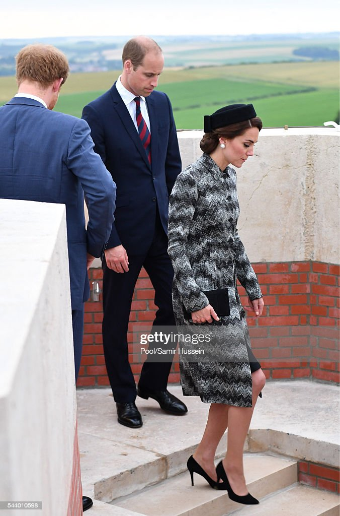 Catherine, Duchess of Cambridge, <a gi-track='captionPersonalityLinkClicked' href=/galleries/search?phrase=Prince+William&family=editorial&specificpeople=178205 ng-click='$event.stopPropagation()'>Prince William</a>, Duke of Cambridge and <a gi-track='captionPersonalityLinkClicked' href=/galleries/search?phrase=Prince+Harry&family=editorial&specificpeople=178173 ng-click='$event.stopPropagation()'>Prince Harry</a> attend the Somme Centenary commemorations at the Thiepval Memorial on June 30, 2016 in Thiepval, France.