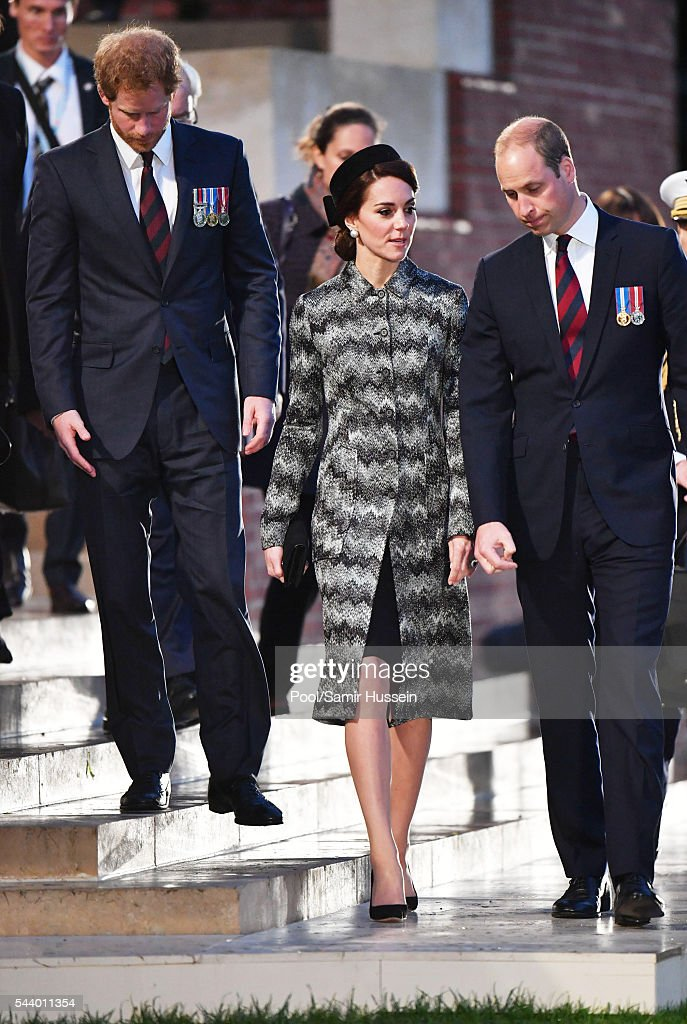 Catherine, Duchess of Cambridge, <a gi-track='captionPersonalityLinkClicked' href=/galleries/search?phrase=Prince+William&family=editorial&specificpeople=178205 ng-click='$event.stopPropagation()'>Prince William</a>, Duke of Cambridge and Prince Harry attend a vigil to commemorate the 100th anniversary of the beginning of the Battle of the Somme at the Thiepval Memorial on June 30, 2016 in Thiepval, France. on June 30, 2016 in Thiepval, France.
