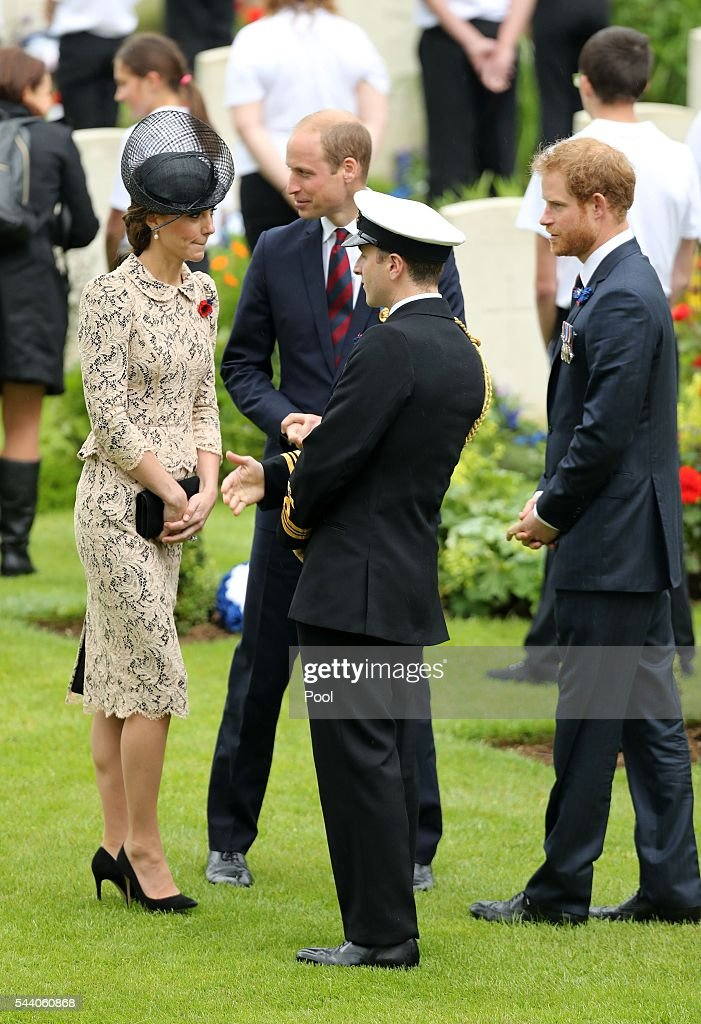 Catherine, Duchess of Cambridge, <a gi-track='captionPersonalityLinkClicked' href=/galleries/search?phrase=Prince+William&family=editorial&specificpeople=178205 ng-click='$event.stopPropagation()'>Prince William</a>, Duke of Cambridge and <a gi-track='captionPersonalityLinkClicked' href=/galleries/search?phrase=Prince+Harry&family=editorial&specificpeople=178173 ng-click='$event.stopPropagation()'>Prince Harry</a> attend a service to mark the 100th anniversary of the beginning of the Battle of the Somme at the Thiepval memorial to the Missing on July 1, 2016 in Thiepval, France. The event is part of the Commemoration of the Centenary of the Battle of the Somme at the Commonwealth War Graves Commission Thiepval Memorial in Thiepval, France, where 70,000 British and Commonwealth soldiers with no known grave are commemorated.