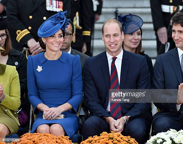 Catherine Duchess of Cambridge Prince William Duke of Cambridge and Canadian Prime Minister Justin Trudeau attend the Official Welcome Ceremony for...
