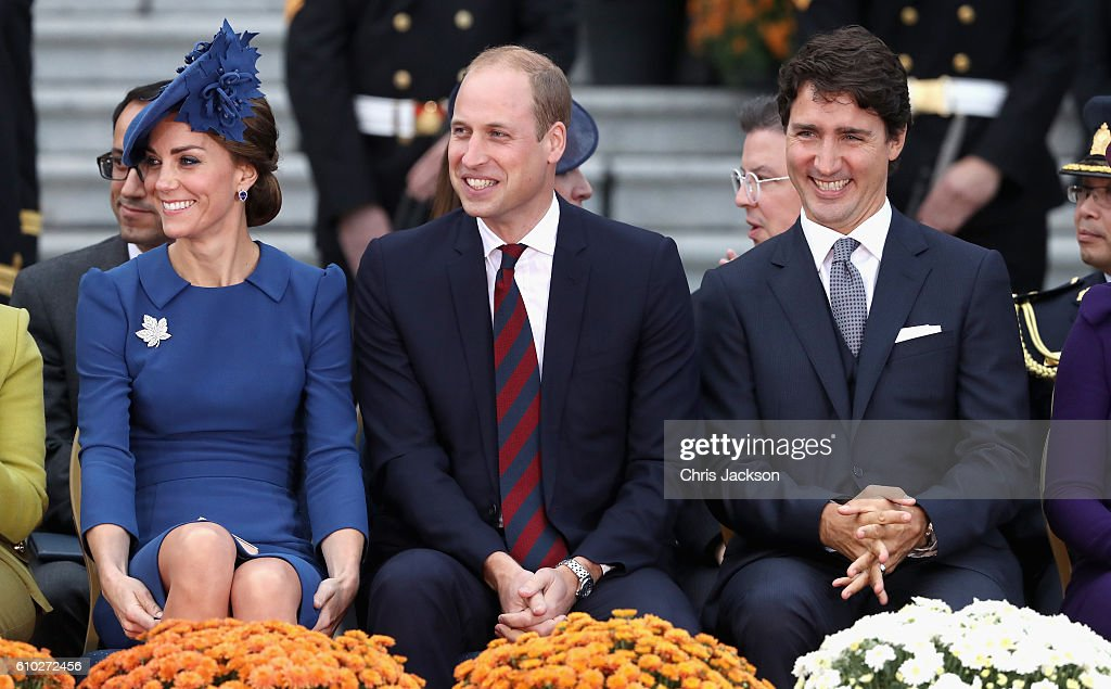 Catherine, Duchess of Cambridge, Prince William, Duke of Cambridge and Canadian Prime Minister Justin Trudeau attend the Official Welcome Ceremony for the Royal Tour at the British Columbia Legislature on September 24, 2016 in Victoria, Canada. Prince William, Duke of Cambridge, Catherine, Duchess of Cambridge, Prince George and Princess Charlotte are visiting Canada as part of an eight day visit to the country taking in areas such as Bella Bella, Whitehorse and Kelowna.