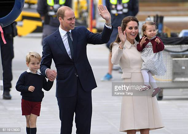 Catherine Duchess of Cambridge Prince William Duke of Cambridge Prince George and Princess Charlotte depart Victoria after the Royal Tour of Canada...