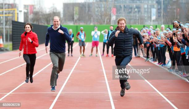 Catherine Duchess of Cambridge Prince William Duke of Cambridge and Prince Harry race during a Marathon Training Day with Team Heads Together at the...