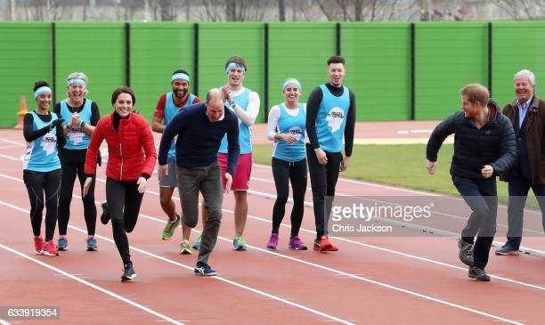 Catherine Duchess of Cambridge Prince William Duke of Cambridge and Prince Harry join Team Heads Together at a London Marathon Training Day at the...