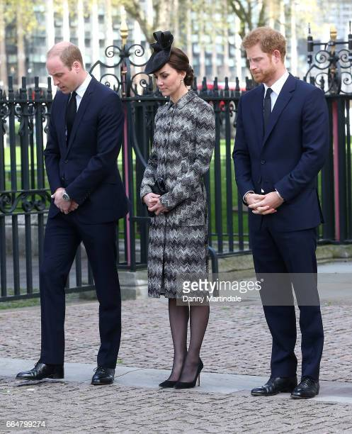 Catherine Duchess of Cambridge Prince William Duke of Cambridge and Prince Harry attends Service of Hope at Westminster Abbey on April 5 2017 in...