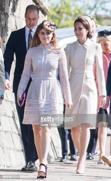 Catherine Duchess of Cambridge Prince William Duke of Cambridge and Princess Beatrice of York attend Easter Day Service at St George's Chapel on...