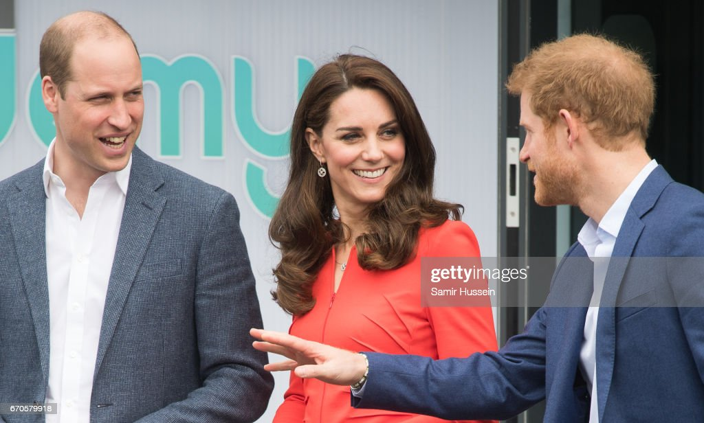 Catherine, Duchess of Cambridge, Prince William, Duke of Cambridge and Prince Harry attend the official opening of The Global Academy in support of Heads Together at The Global Academy on April 20, 2017 in Hayes, England.